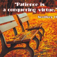 """Geoffrey Chaucer Inspirational Quote Postcard: """"Patience is a conquering virtue"""""""