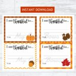 Thanksgiving Printable I am Thankful Cards