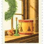 Contemporary Christmas Stamp 1980 Wreath and Toys on Window