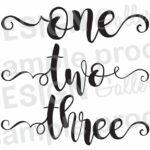 One Two Three Cursive script printable
