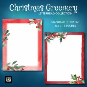 Christmas Greenery Letterhead Collection
