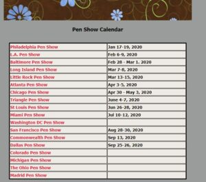 Fountain Pen Show Calendar 2020 at Five Star Pens website