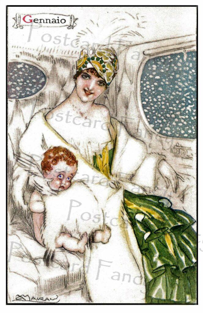Postcardfancy Art Deco JANUARY Vintage Postcard