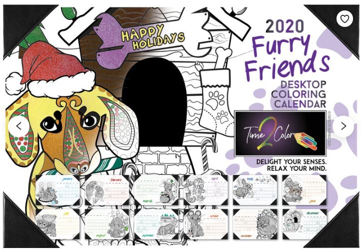 Desk Blotter Coloring Calendar 2020