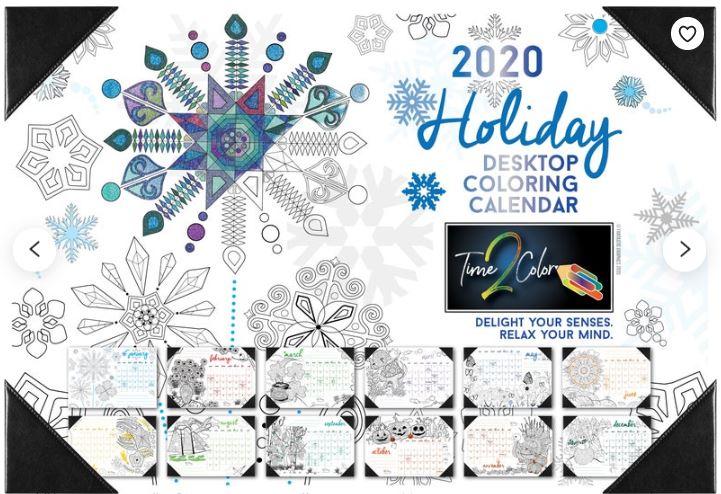 Desk Blotter Coloring Calendar 2020 Holiday
