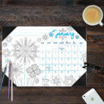 Desk Blotter Coloring Calendar 2020 available in four themes