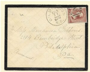 NC Postal History Mourning Cover 1884 Wilmington NC