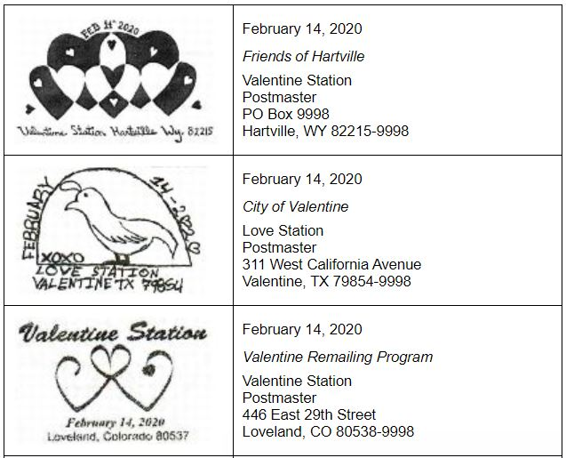 USPS Valentines Pictorial Postmarks 2020