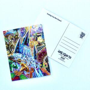 KellyBoyettArt Mardi Gras Mashup Postcard