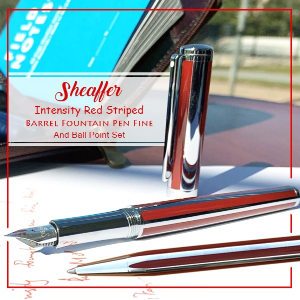 SHEAFFER INTENSITY RED STRIPED BARREL FOUNTAIN PEN F AND BALL POINT SET