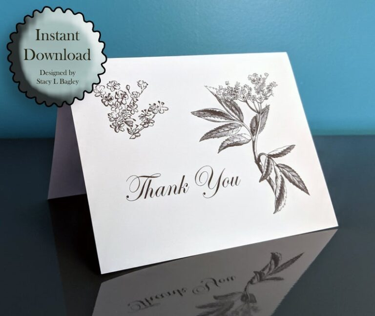 Elderberry Flower Thank You Card Printable