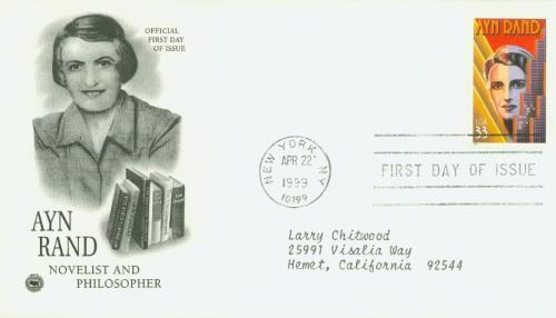 Ayn Rand 33c Stamp 1999 Literary Arts Series Classic First Day Cover