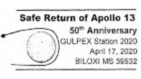 Apollo 13 Safe Return 50th Anniversary Pictorial Postmark 2020 April 17