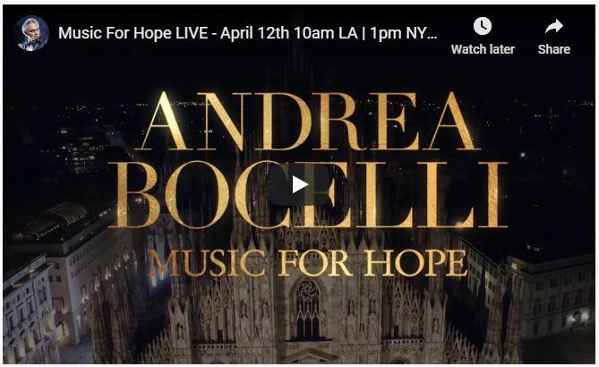 Music For Hope Live April 12 Andrea Bocelli Music for Hope Easter Sunday screenshot