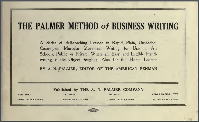Palmer Method of Business Writing Self Teaching Lessons