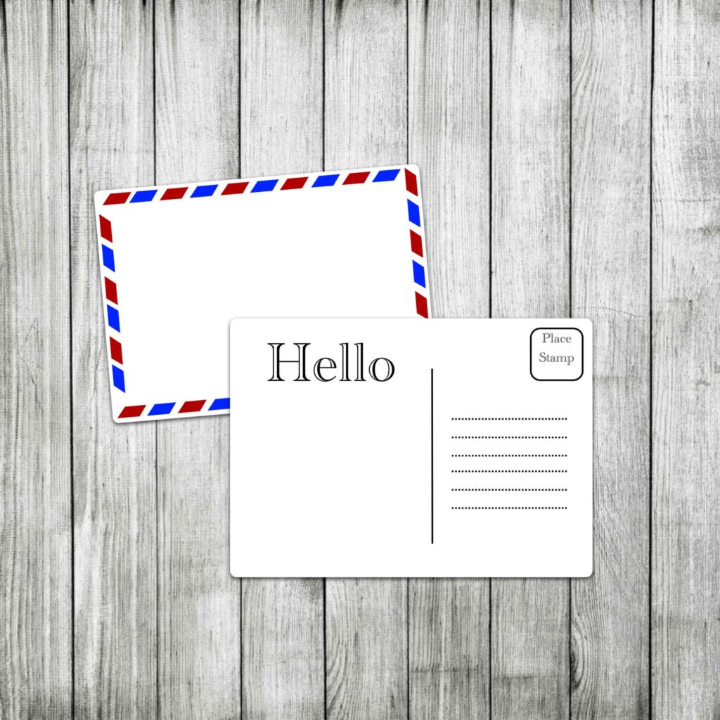 Printable Postcard Template Airmail