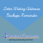 Letter Writing Addresses Backups Reminder