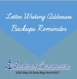 Letter Writing Addresses Backups