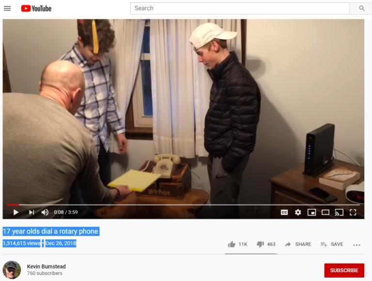 17-year-olds dial a rotary phone screenshot YouTube