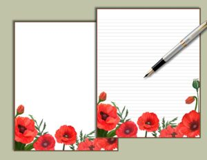 Poppies Floral Printable Stationery SydneyLeeStationery