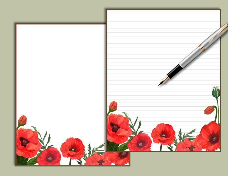 Poppies Floral Printable Stationery SydneyLeeStationery