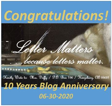 Congratulations Letter Matters Blog on 10 Years Anniversary