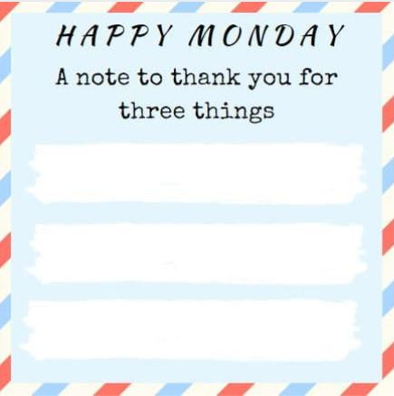 Happy Monday Thank You Printable image of downloadable pdf by Helen Rittersporn 2020July20