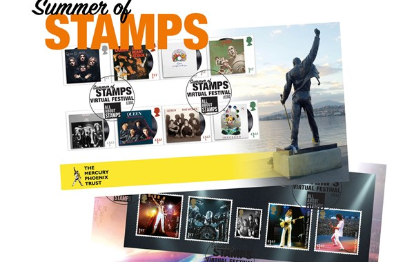 Summer of Stamps Virtual Festival FDC featuring Queen stamps