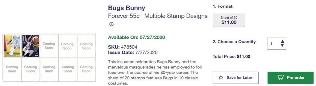 PreOrder Screen USPS Bugs Bunny Forever Stamps as of 7182020