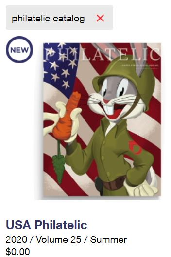 Screenshot Cover USA Philatelic 2020 Summer Volume 25 USPS Bugs Bunny Forever Stamps as of 7182020