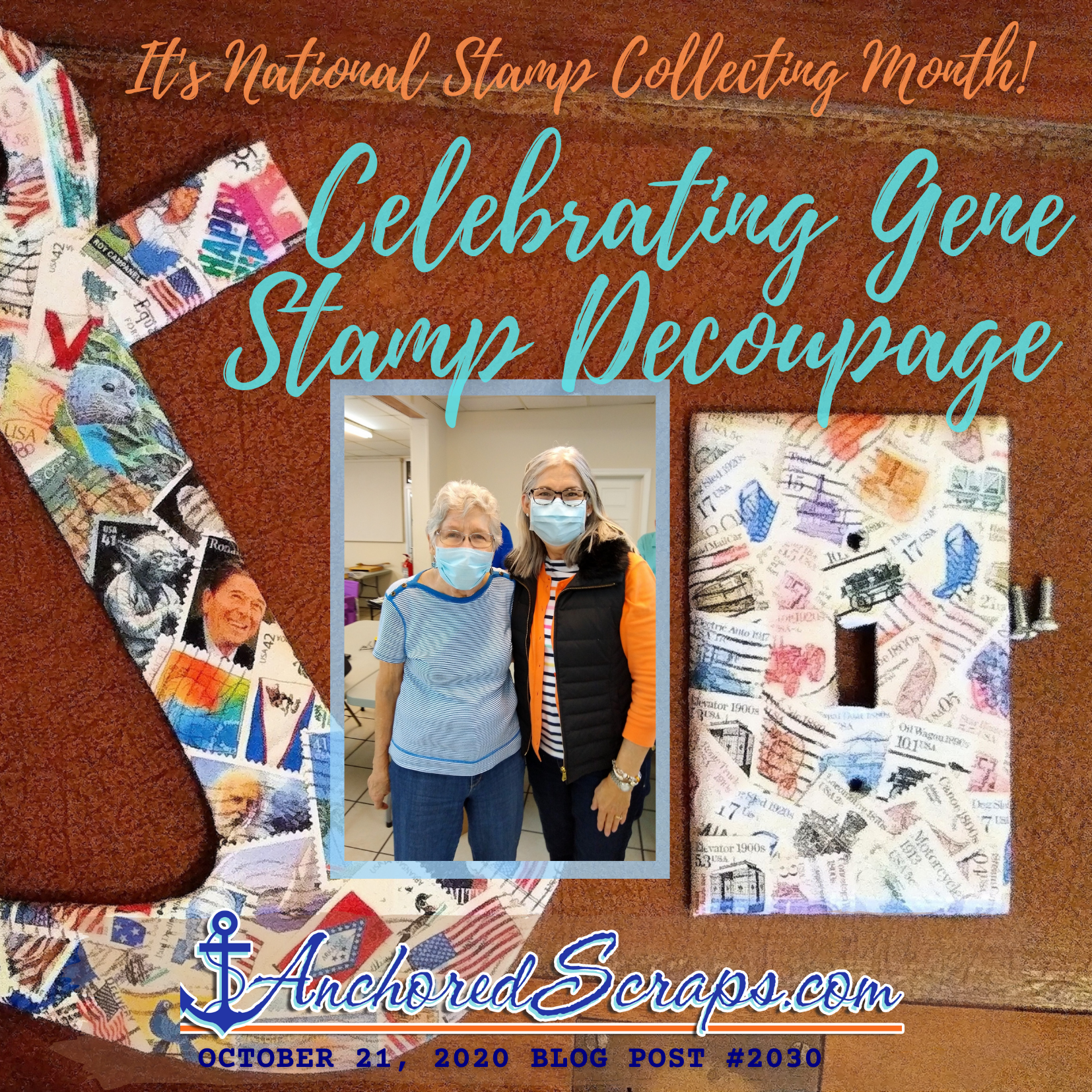 Celebrating Gene Stamp Decoupage - It's National Stamp Collecting Month