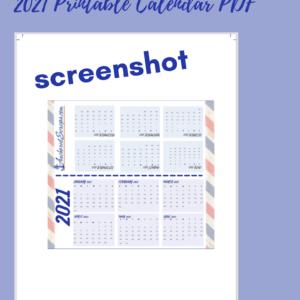 AnchoredScraps Printable 2021 Calendar (billfold size)