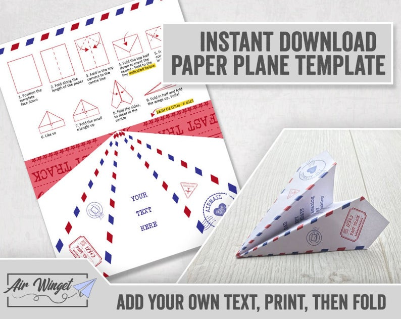 Paper Airplane Printable Card